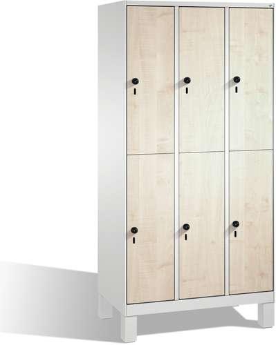Garderobenschrank Evolo doppelstöckig, 6 Türen, Füße