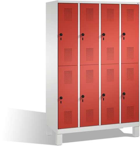 Garderobenschrank Evolo doppelstöckig, 8 Türen, Füße