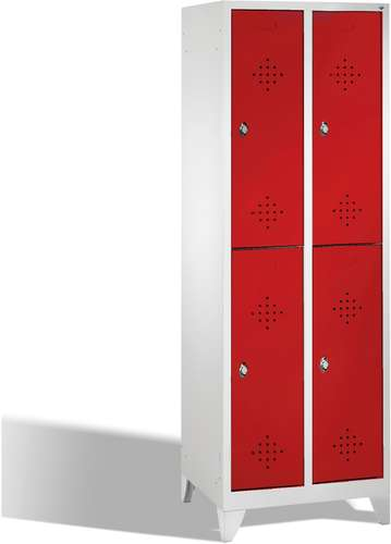 Garderobenschrank Classic doppelstöckig, 4 Türen, Füße