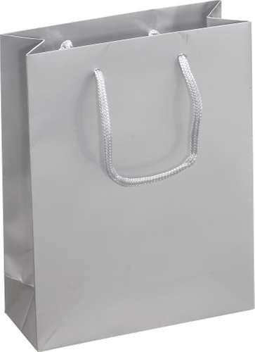 Silberfarbene Geschenktasche, Midi I, 20 x 25 x 8 cm