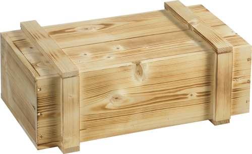 Holzkiste mit Schiebedeckel, 2 x 0,75 Liter
