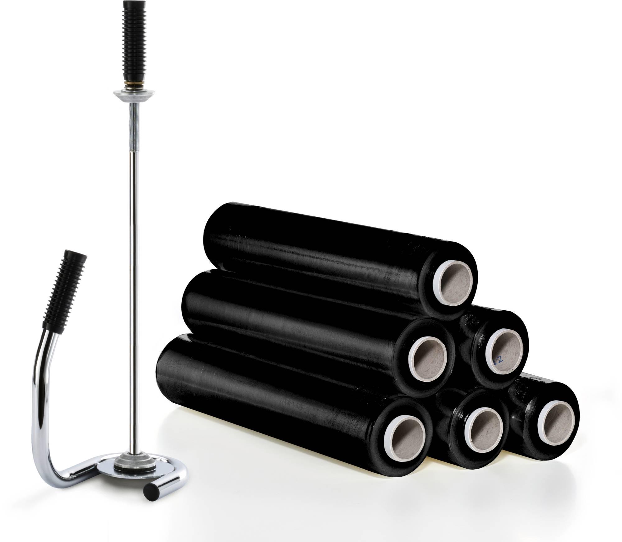 Set: 6 Rollen Handstretchfolie schwarz mit Abroller, zur sicheren Fixierung Ihrer Palettenladungen