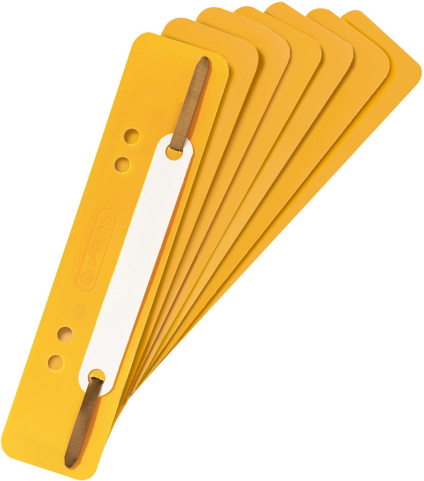 Heftstreifen mit Plastik-Deckleiste,  34 x 150 mm in der Farbe gelb aus Polypropylen
