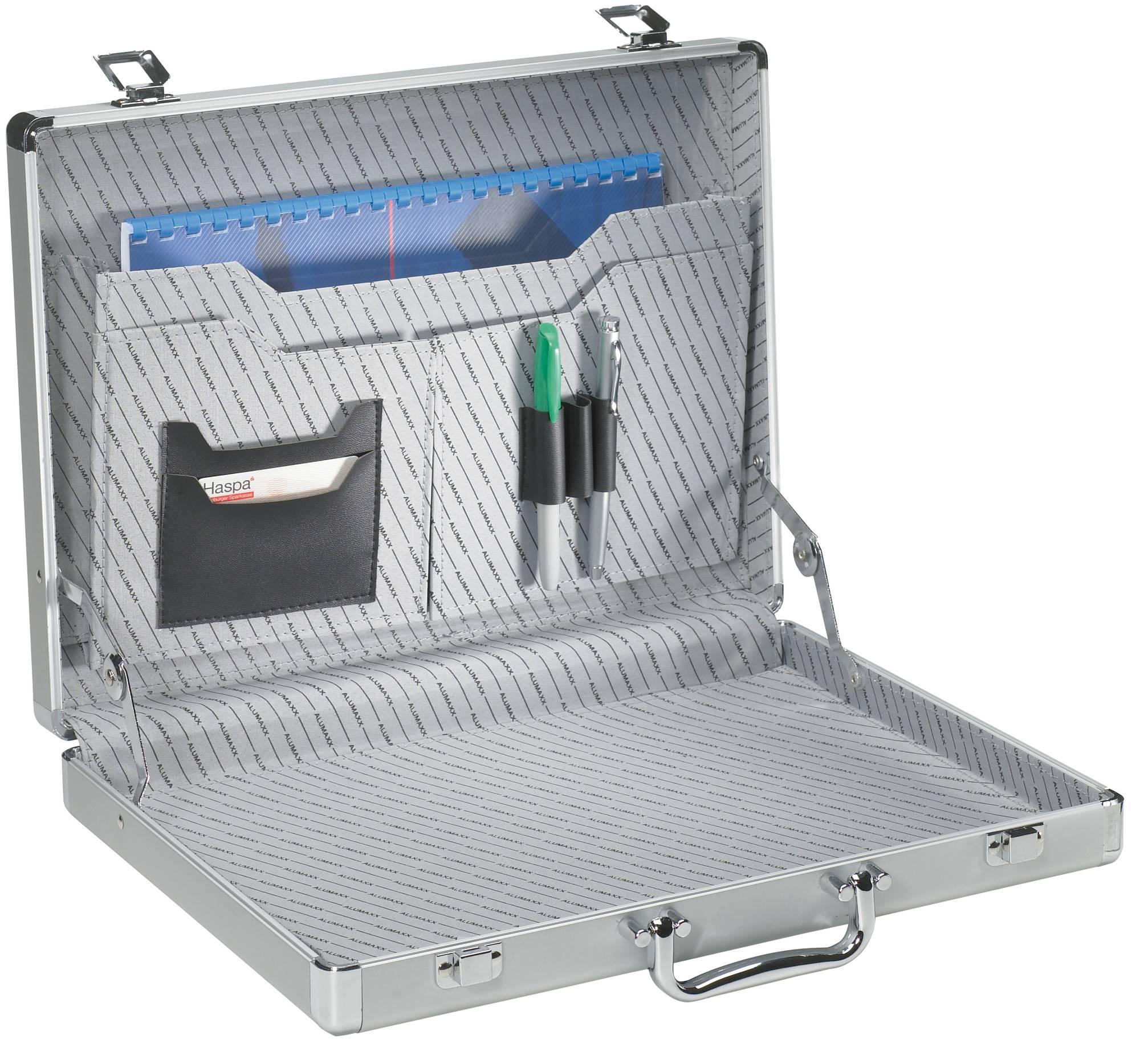 Aluminium Aktenkoffer SLIMLINE, gerippt, mit Stiftschlaufen, CD/DVD-Fächern und A4-Fach