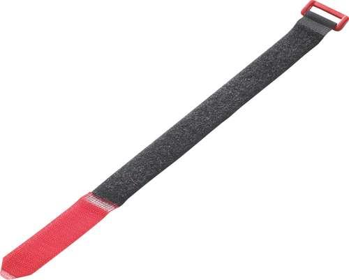 Schwarz/roter Klett-Verschlussgurt mit Schnalle, 25 x 360 mm
