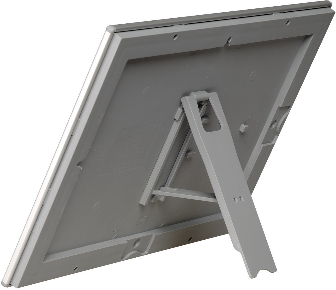 Silberner Klapprahmen Opti-Frame A4, Rahmenbreite 25 mm, mit Stütze zum Aufstellen, auch quer