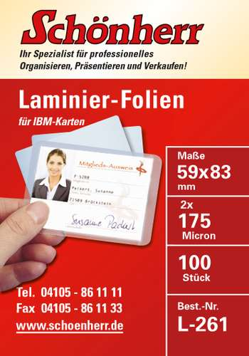 Laminierfolie IBM-cards, 59 x 83 mm, 175 mic
