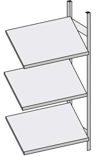 Schrägboden-Regal, Anbauregal mit 3 Böden, 100 x 60 cm