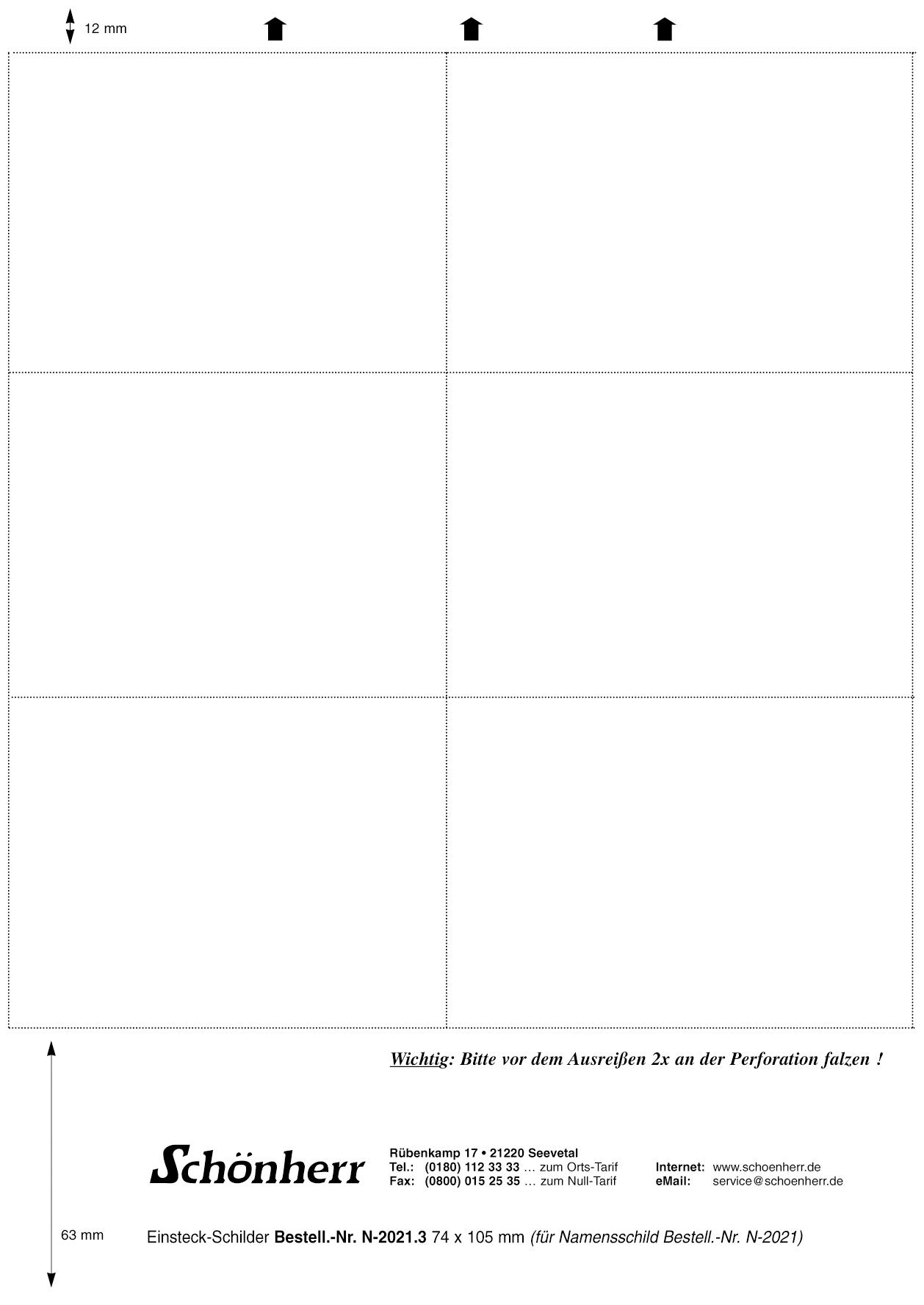 Weiße Einsteckschilder auf A4-Bogen in A7 mit Microperforation, 105 x 74 mm