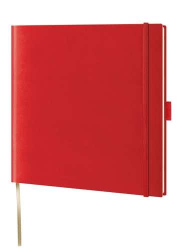 Notizbuch, kariert, rot, 175 x 175 mm