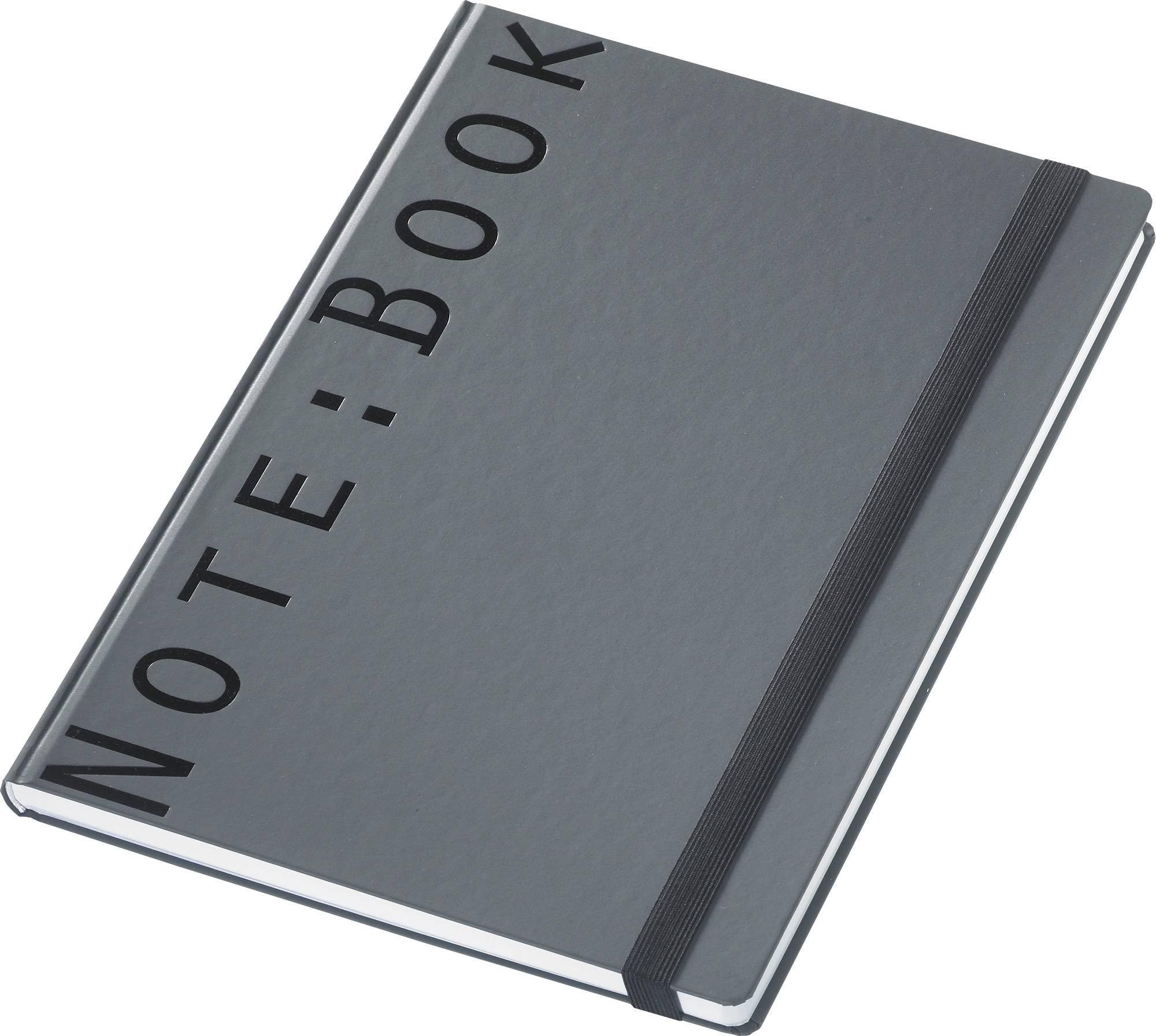 Kariertes Notizbuch Note:Book, in matt anthrazit mit Verschluss-Band, A4
