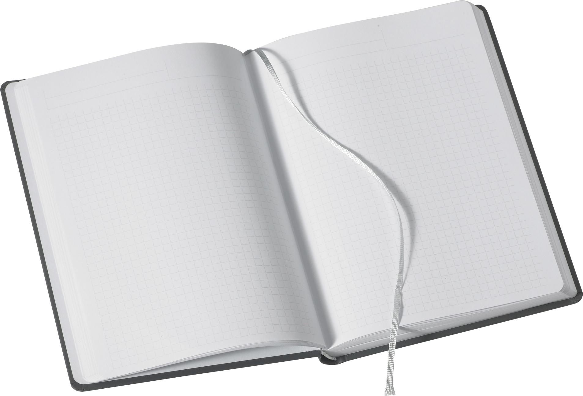 Kariertes Notizbuch Note:Book, in matt anthrazit mit Leseband, A4