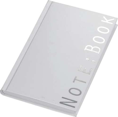 Weißes Notizbuch mit silberfarbigem Aufdruck Note:Book, Medium, B 175 x H 245 mm