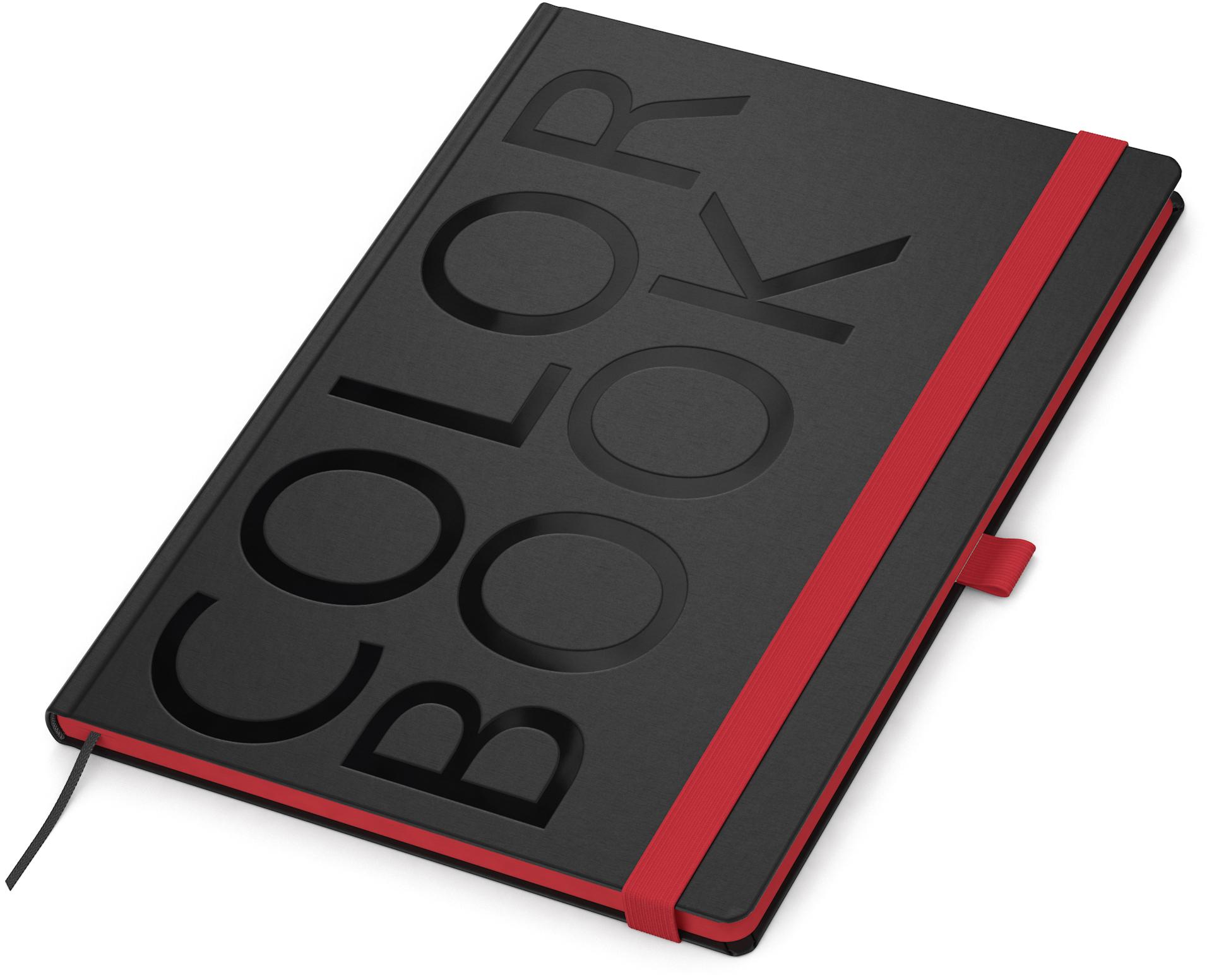 Color-Book, in Rot, A4-Notizbuch mit Lesezeichenband und Gummiband-Verschluss
