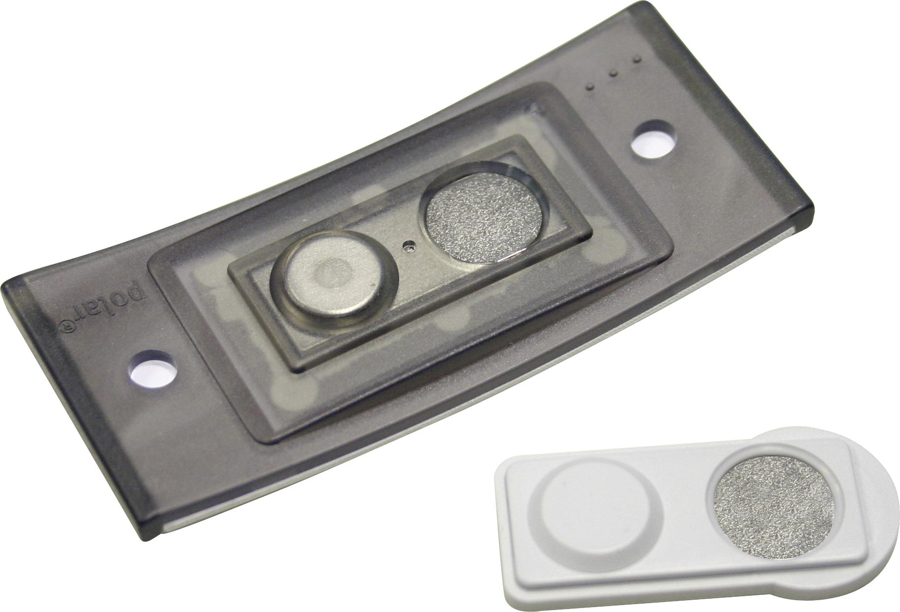Design-Namensschild mit Magnet-Clip, bedruckt, 80 x 34 mm, in hellgrau