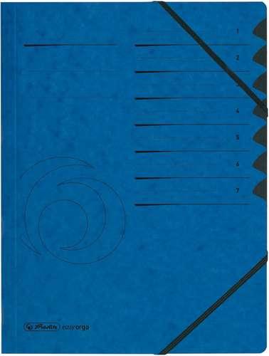 Blaue Ordnungsmappe mit 7-Fachteilung