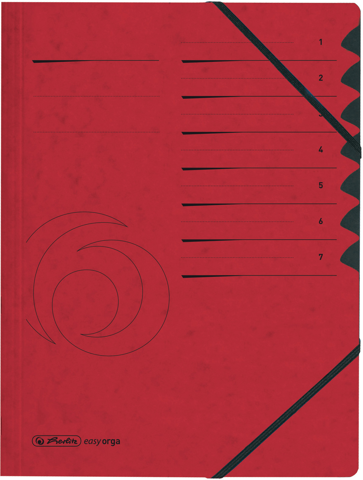 Rote Ordnungsmappe mit 2 elastischen Eckspann-Gummizügen, Beschriftungsfenster auf Vorderseite