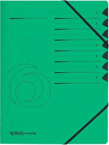 Grüne Ordnungsmappe aus Karton mit 7 Fächern für Formate bis A4, mit Eckspann-Gummizügen, 355 g/qm