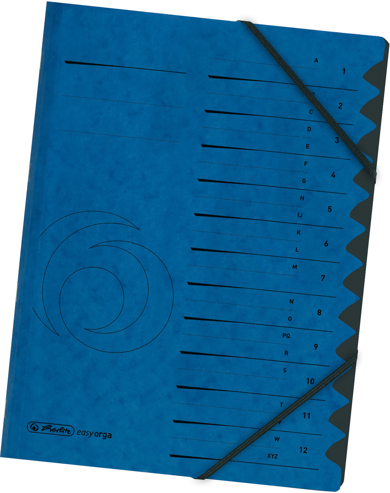 Blaue Ordnungsmappe aus Karton mit 12 Fächern für Formate bis A4, mit Eckspann-Gummizügen, 355 g/qm
