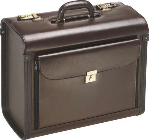 Piloten-Koffer Profi II aus dunkelbraunem Leder