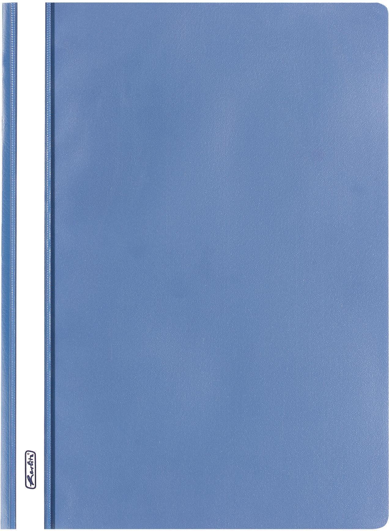 Blauer Schnellhefter DIN A4 aus PP mit transparentem Vorderdeckel und Beschriftungsstreifen
