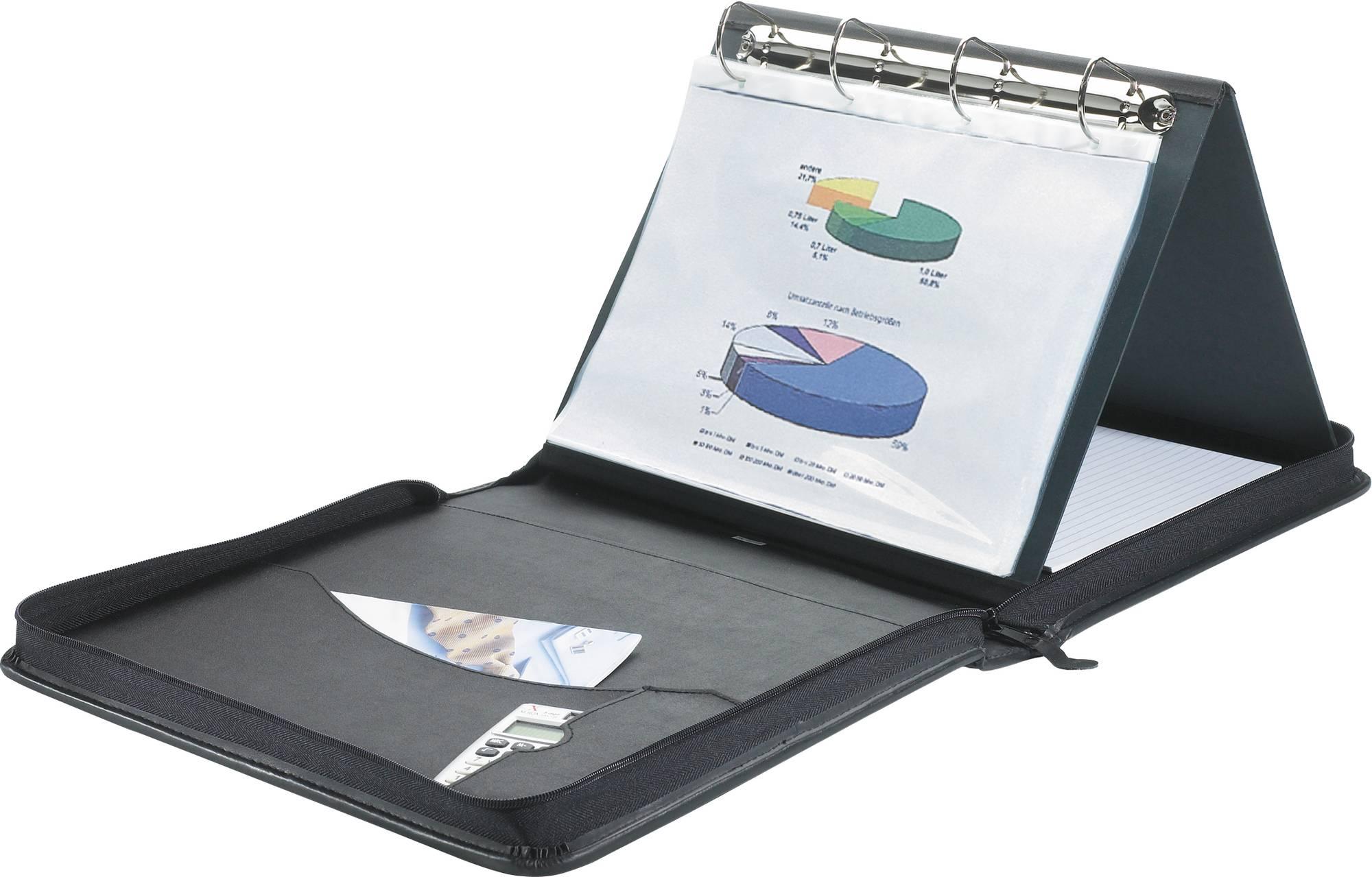 Tragbare Flipchart-Mappe Präsentationsringbuch für DIN A4 Formate aus hochwertigem Kunstleder