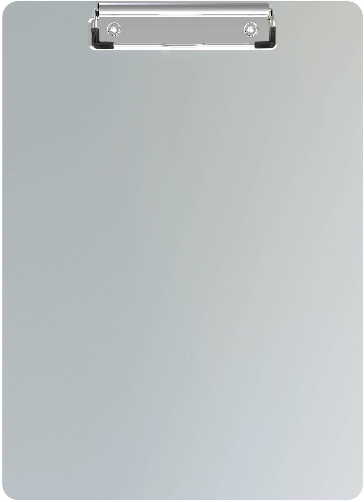 Aluminium-Klemmbrett A4 aus Aluminium mit Bügelklemme, Aufhängeöse und Magnet