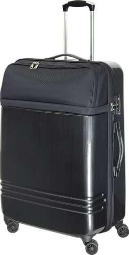 Schwarzer Reisekoffer Primus L für 78 Liter Volumen aus robustem Polycarbonat/Polyester