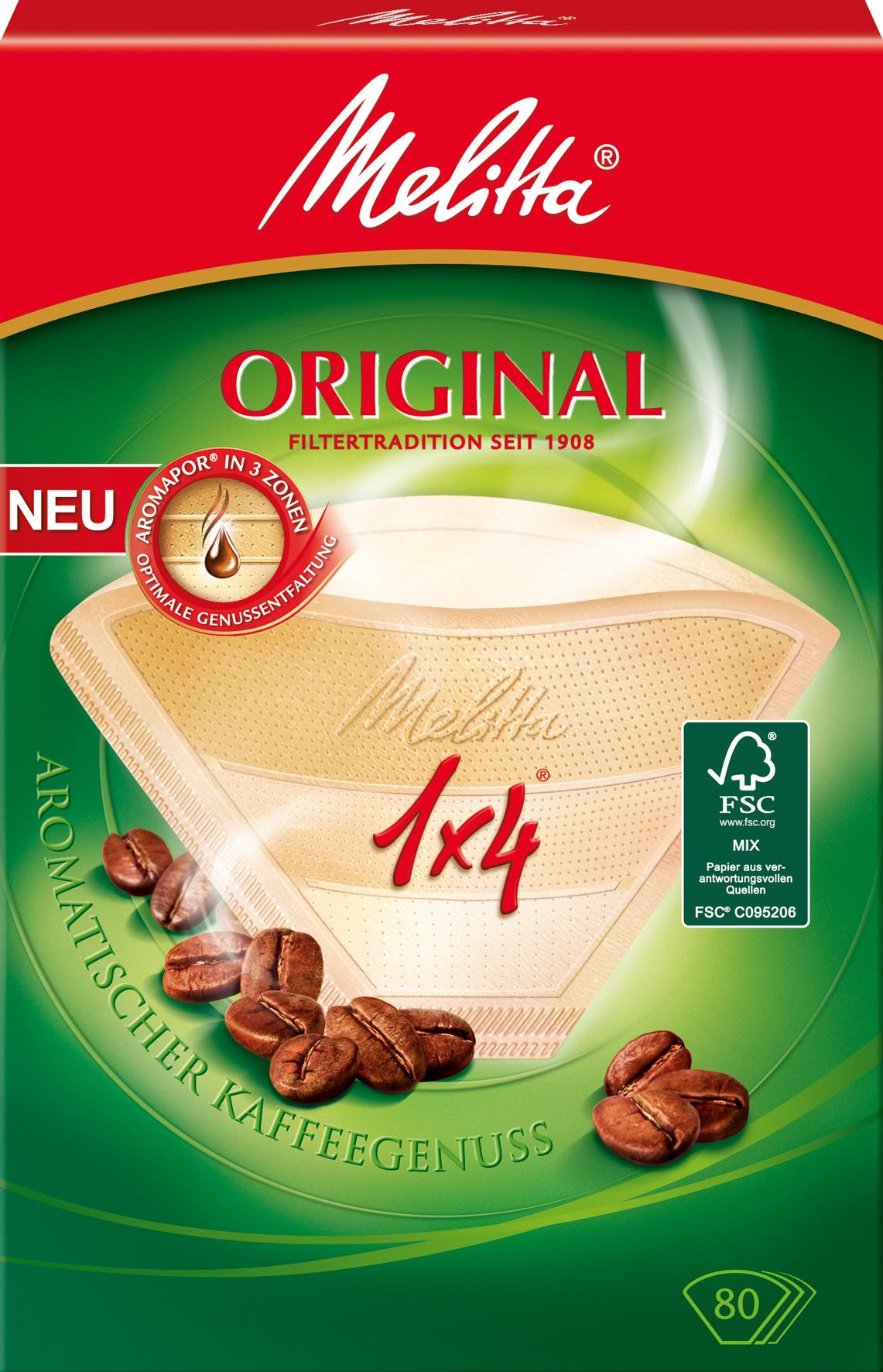 Melitta Kaffeefiltertüten, 1 x 4, naturbraun, 80 Stück, für sanftes, harmonisches Aroma
