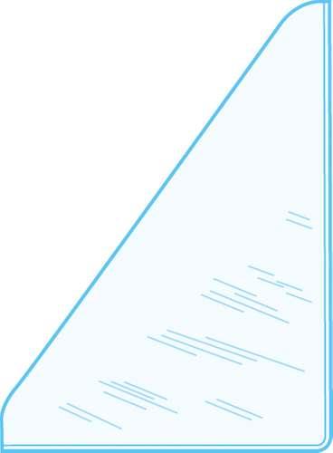 Selbstklebende Dreiecktasche, rechts, 105 x 145  mm
