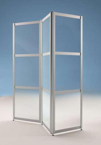 Faltstellwand 'Screen' 3-teilig ESG Klarglas, 610 x 24 x 1900 mm