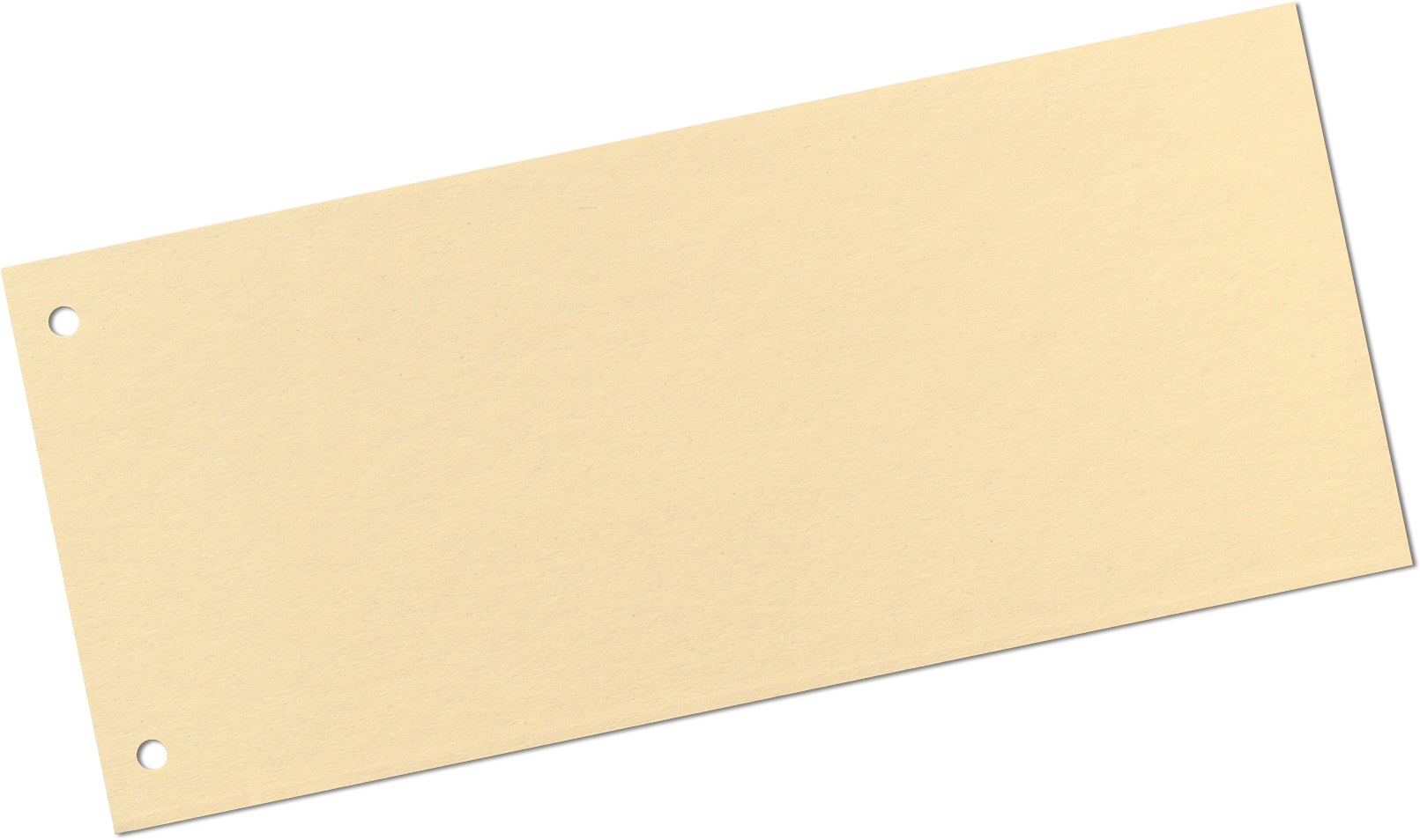 Trennstreifen-Rechteck chamois vorgelocht, mit praktischer 2-fach Lochung f. 2- und 4-Ring-Ordner