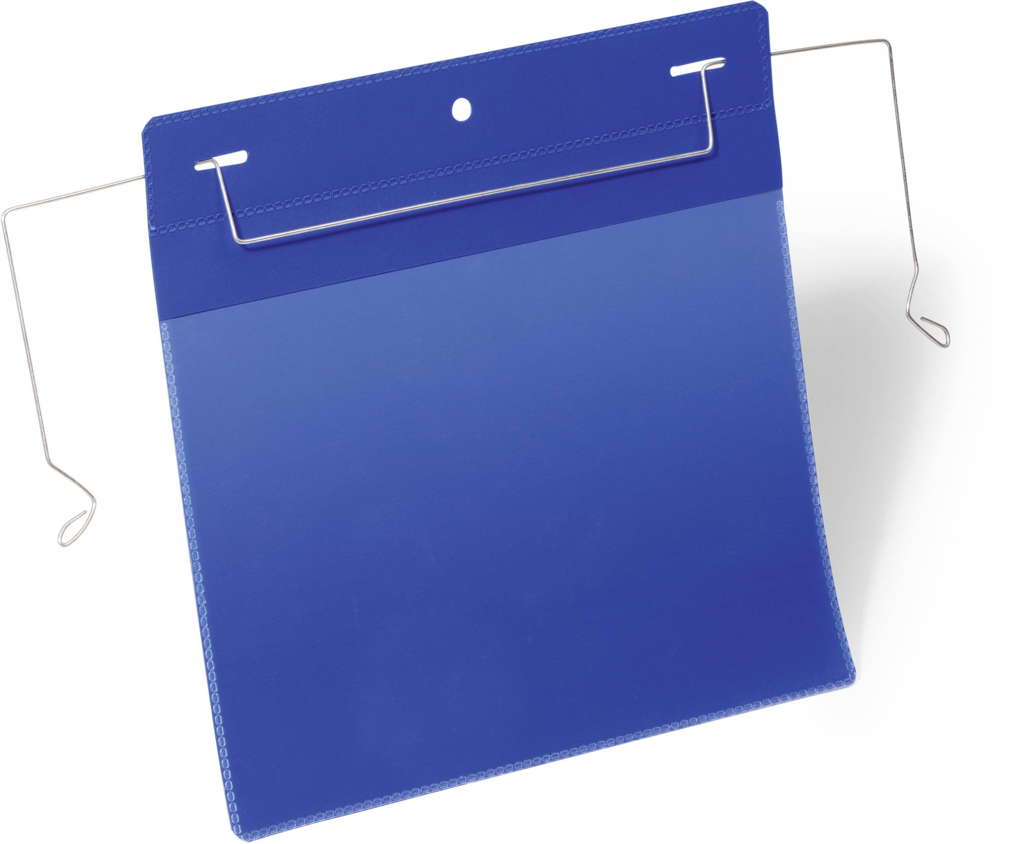 Blaue Drahtbügeltasche A5 quer, Dokumententaschen mit flexiblem Drahtbügel zur Befestigung