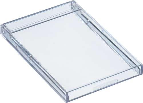 Visitenkartenbox aus glasklarem Polystyrol, schmal