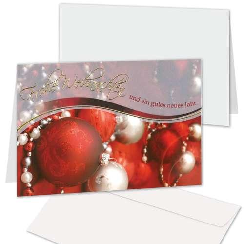 Weihnachtskarte 'Kugeln mit Perlen'