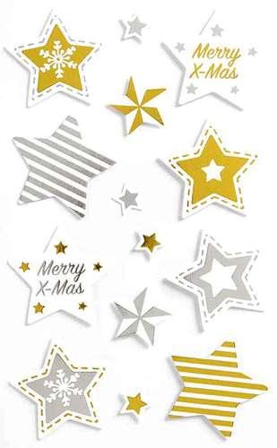 Weihnachtsaufkleber 'Merry X-Mas-Sterne'