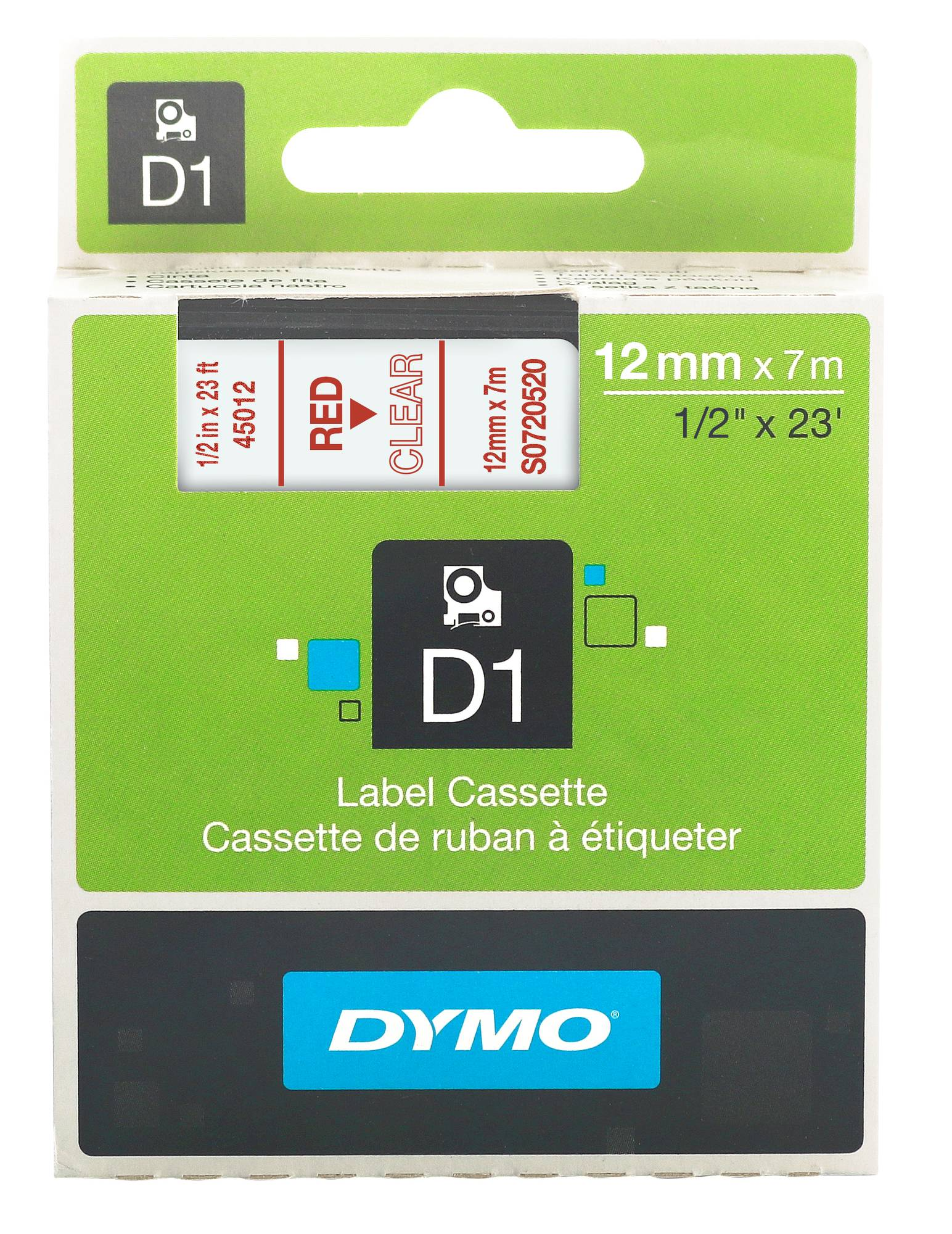 Dymo Schriftband in rot-transparent