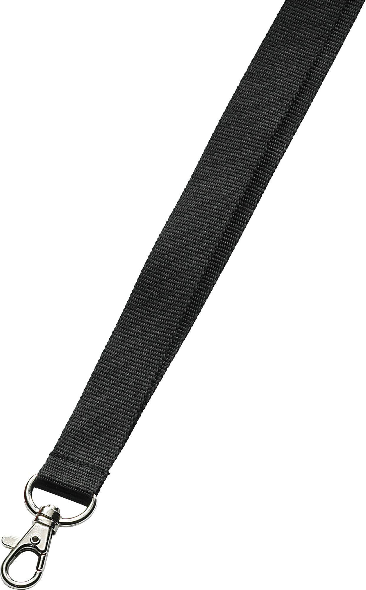 Schwarzes Umhängeband mit Karabinerhaken, 20 mm