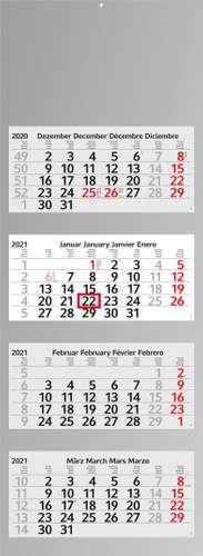 Mehrblock-Monatskalender Profil 4, Recycling, 4C Digitaldruck inklusive