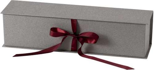 Geschenkschatulle Lino, grau, mit Schleifenverschluss, 0,75 Liter